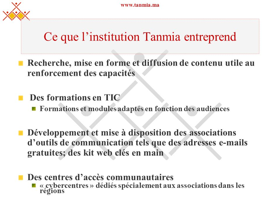 Ce que l'institution Tanmia entreprend