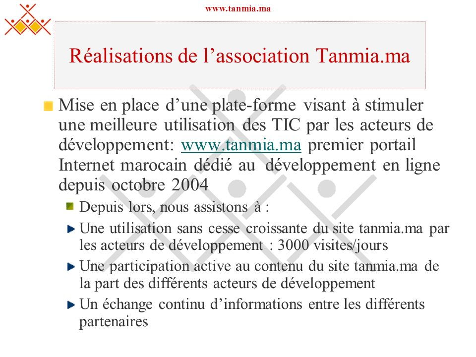 Réalisations de l'association Tanmia.ma