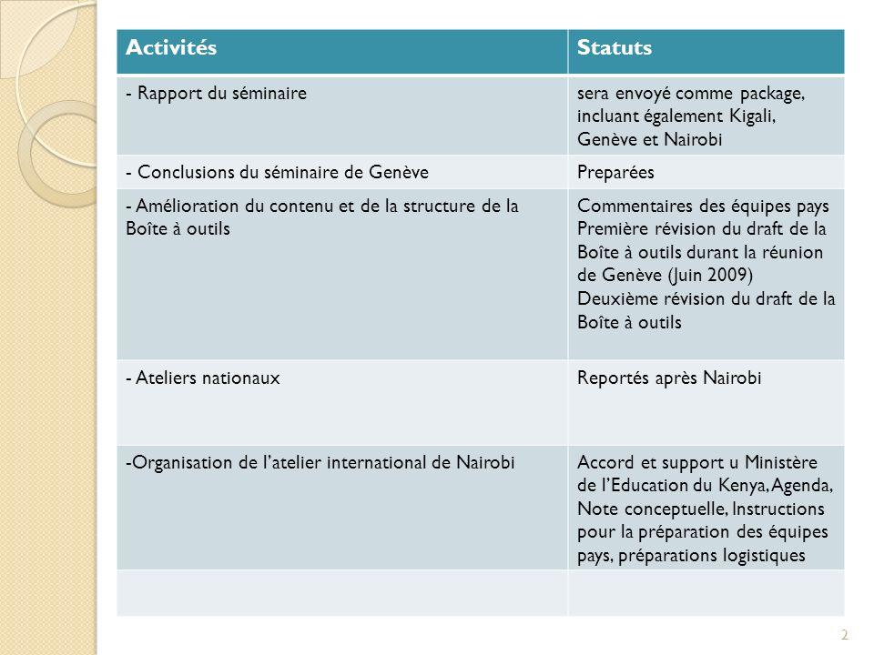 Activités Statuts - Rapport du séminaire