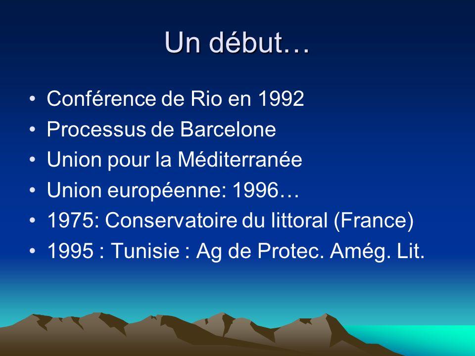 Un début… Conférence de Rio en 1992 Processus de Barcelone