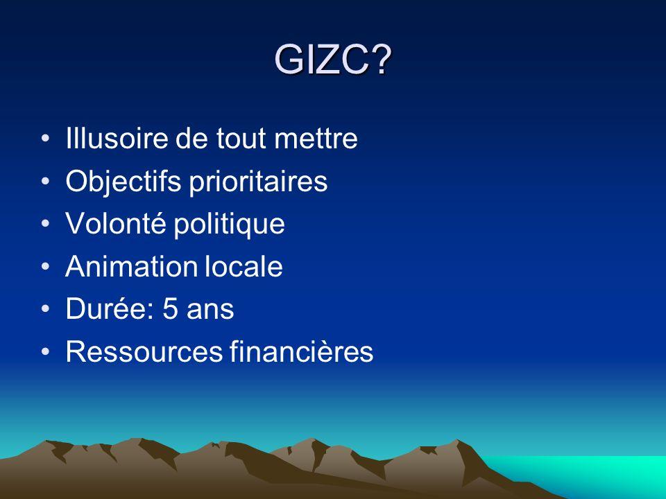 GIZC Illusoire de tout mettre Objectifs prioritaires