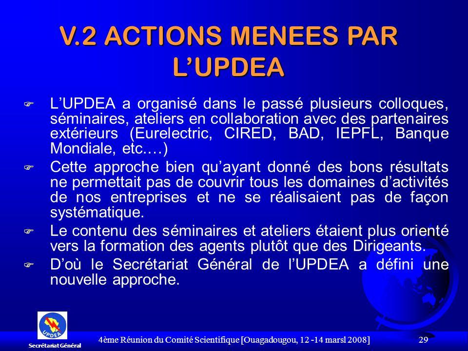 V.2 ACTIONS MENEES PAR L'UPDEA