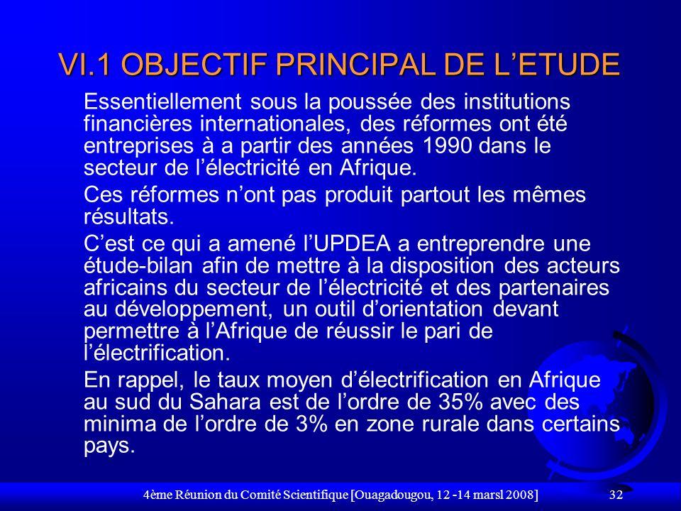 VI.1 OBJECTIF PRINCIPAL DE L'ETUDE