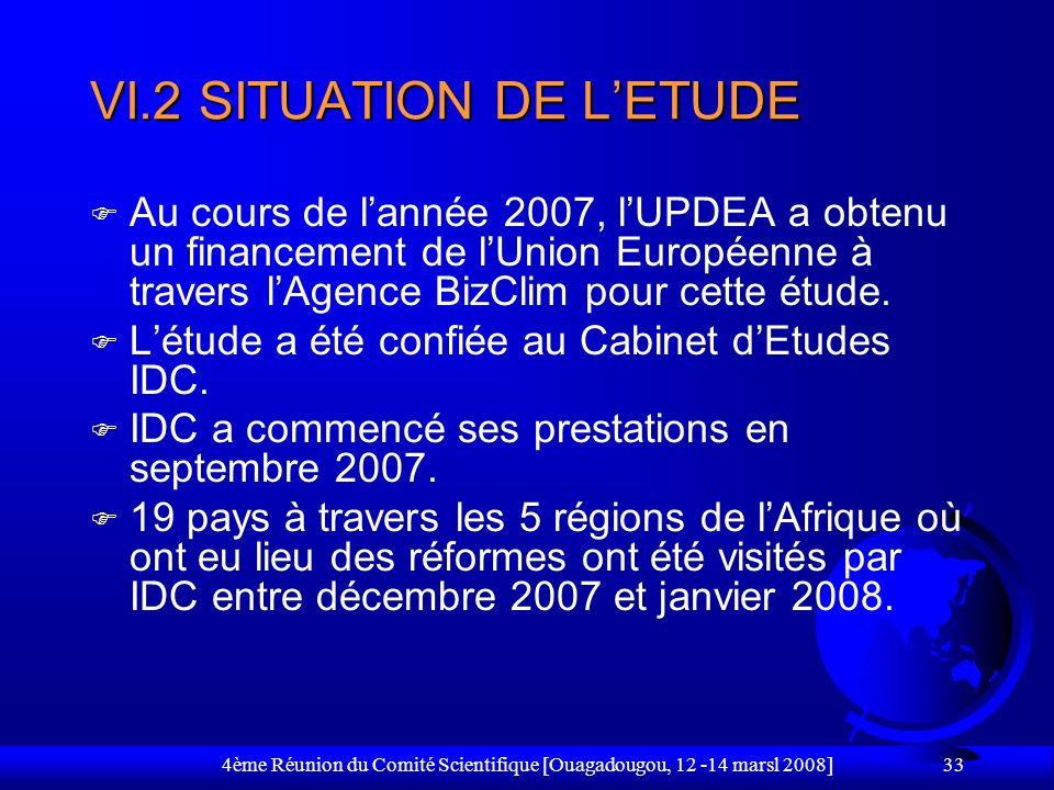 VI.2 SITUATION DE L'ETUDE