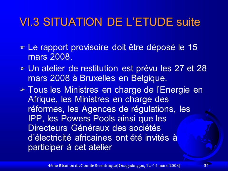 VI.3 SITUATION DE L'ETUDE suite