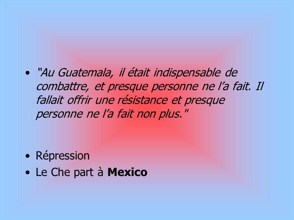 Au Guatemala, il était indispensable de combattre, et presque personne ne l'a fait. Il fallait offrir une résistance et presque personne ne l'a fait non plus.
