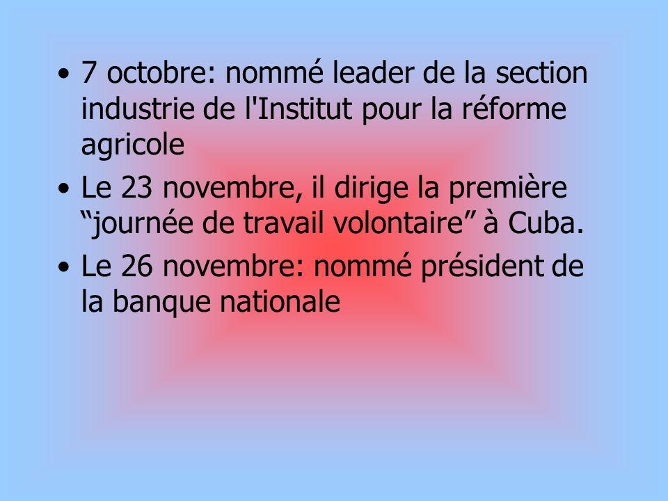 7 octobre: nommé leader de la section industrie de l Institut pour la réforme agricole