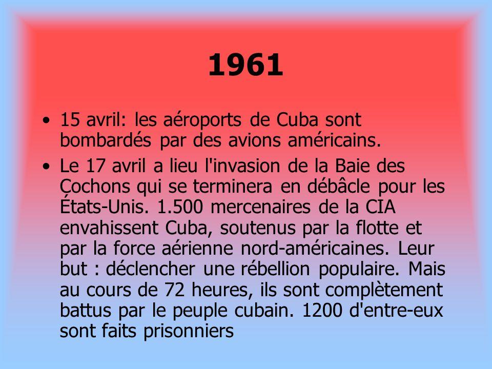 196115 avril: les aéroports de Cuba sont bombardés par des avions américains.