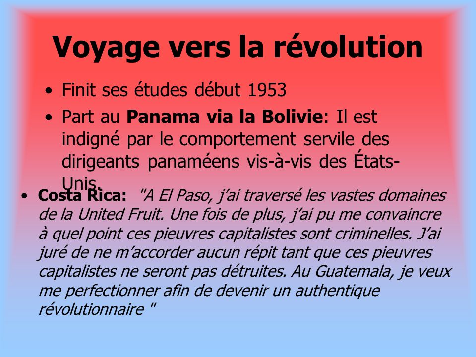 Voyage vers la révolution