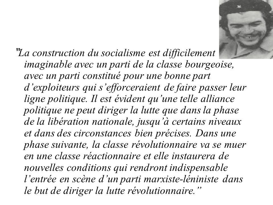 La construction du socialisme est difficilement imaginable avec un parti de la classe bourgeoise, avec un parti constitué pour une bonne part d'exploiteurs qui s'efforceraient de faire passer leur ligne politique.