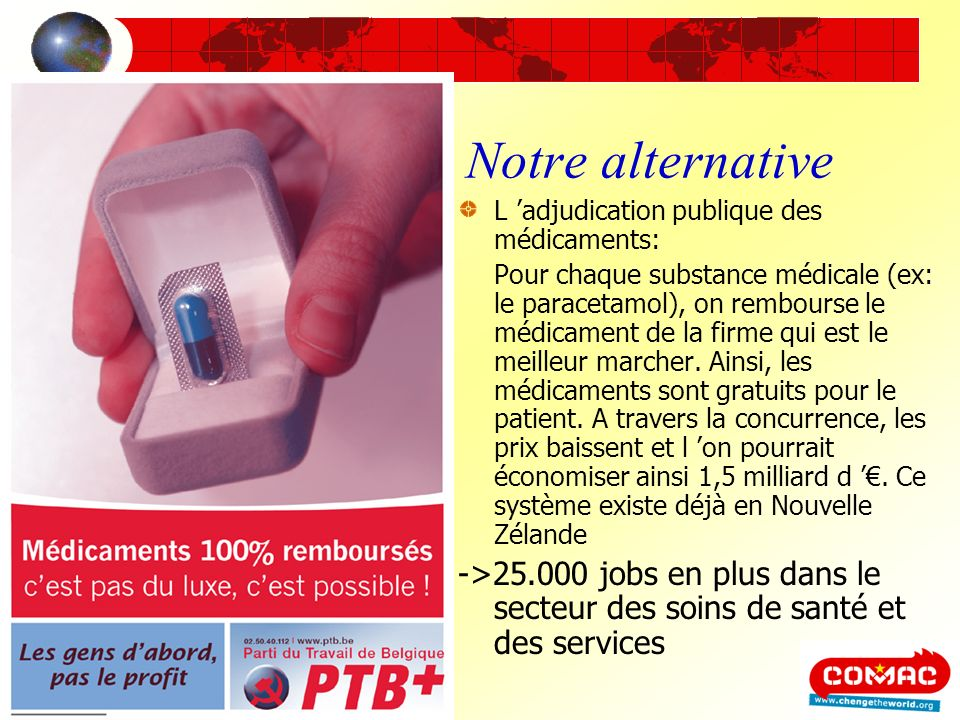 Notre alternativeL 'adjudication publique des médicaments: