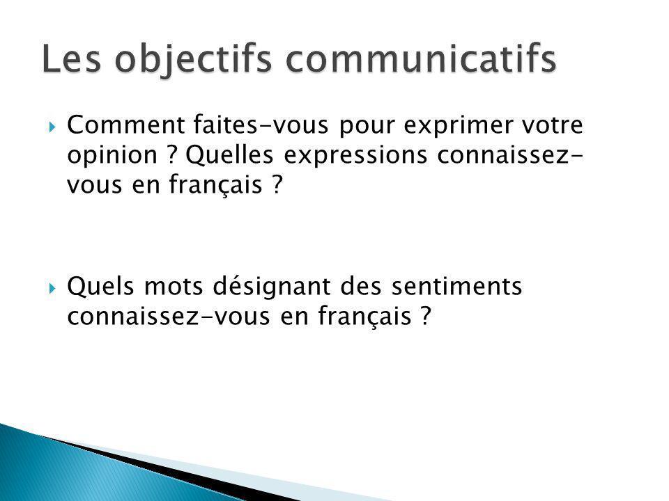 Les objectifs communicatifs