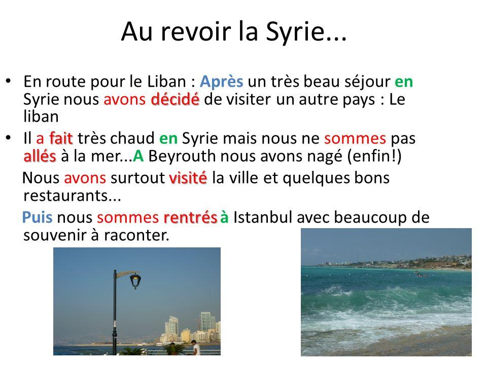 Au revoir la Syrie... En route pour le Liban : Après un très beau séjour en Syrie nous avons décidé de visiter un autre pays : Le liban.