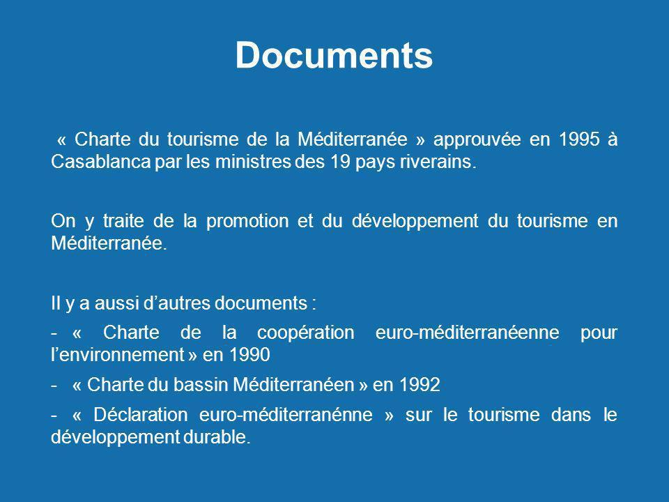 Documents « Charte du tourisme de la Méditerranée » approuvée en 1995 à Casablanca par les ministres des 19 pays riverains.