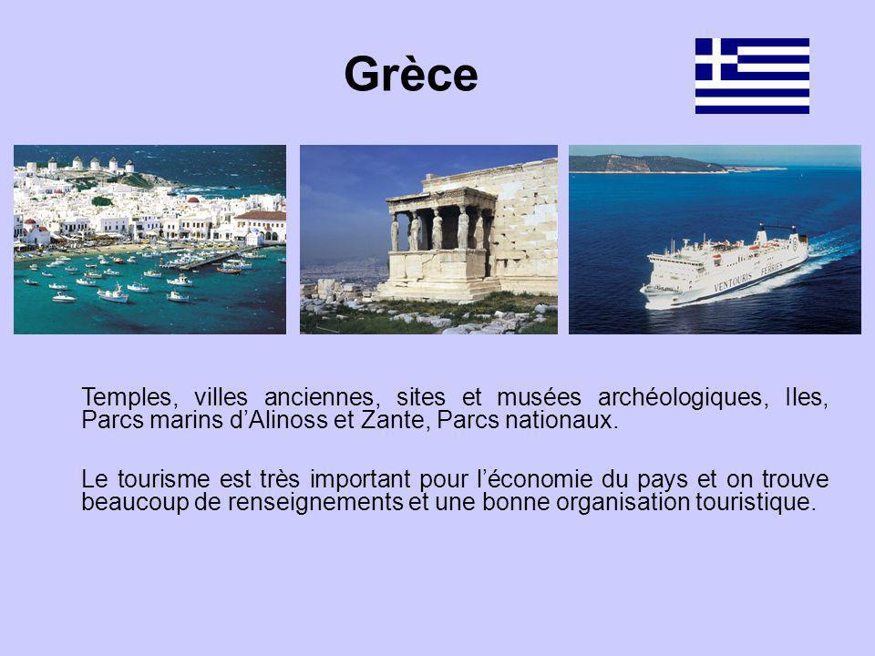 Grèce Temples, villes anciennes, sites et musées archéologiques, Iles, Parcs marins d'Alinoss et Zante, Parcs nationaux.
