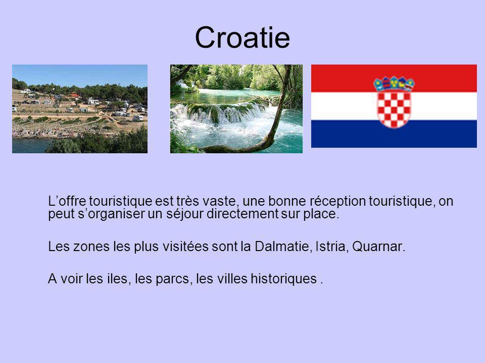 Croatie L'offre touristique est très vaste, une bonne réception touristique, on peut s'organiser un séjour directement sur place.