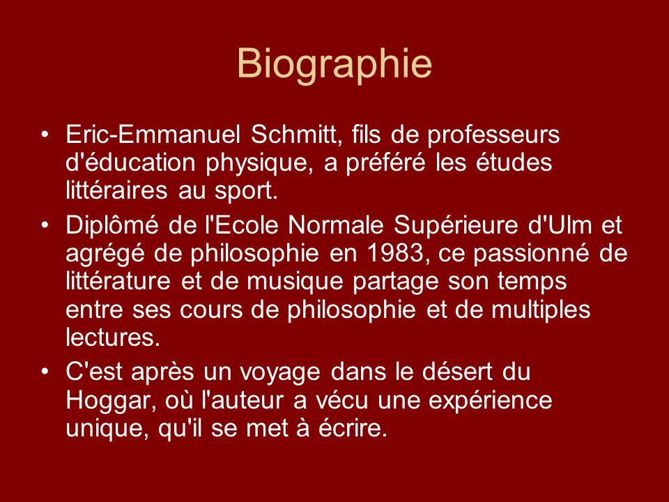 BiographieEric-Emmanuel Schmitt, fils de professeurs d éducation physique, a préféré les études littéraires au sport.