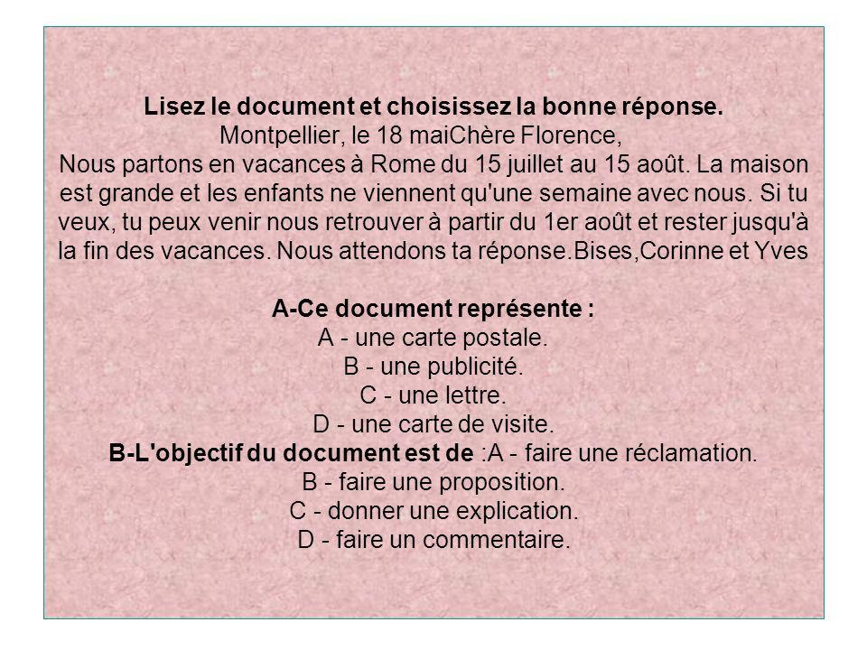 Lisez le document et choisissez la bonne réponse