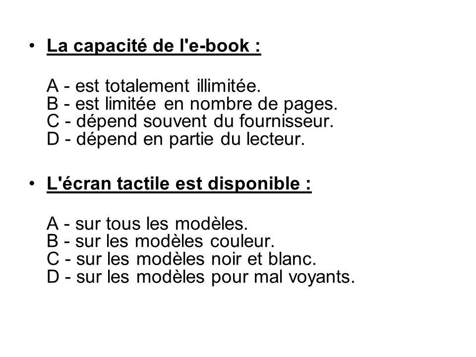 La capacité de l e-book :