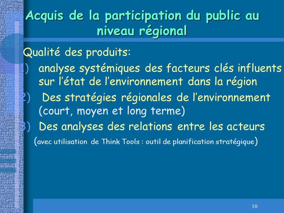 Acquis de la participation du public au niveau régional