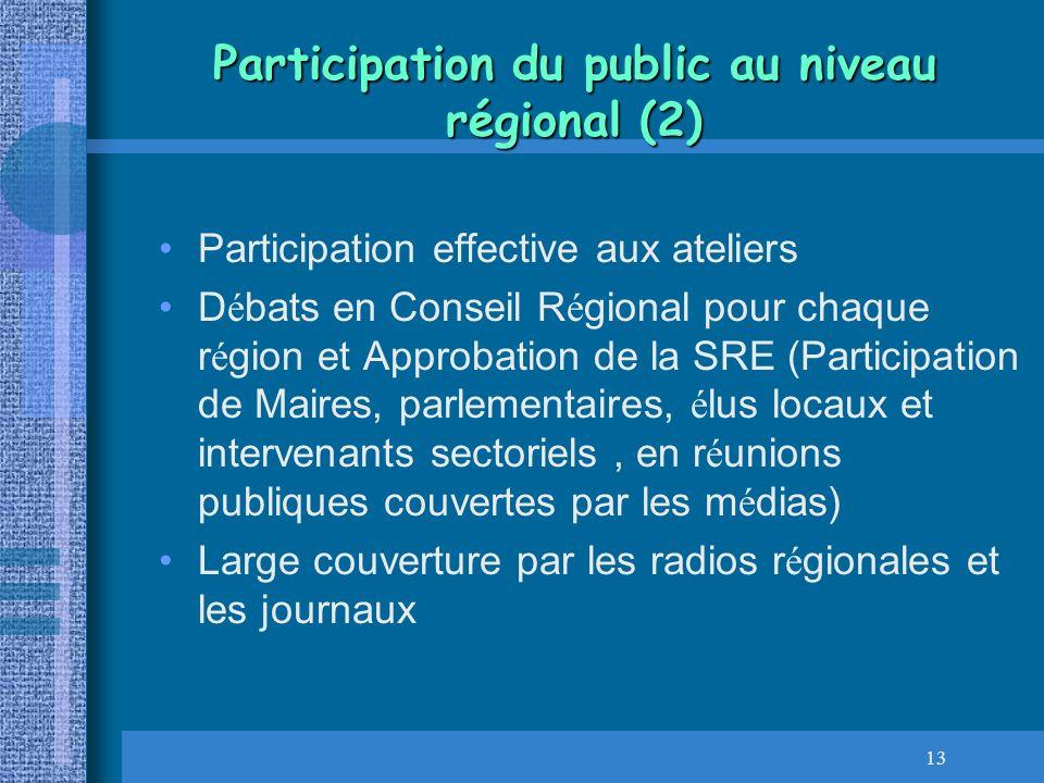 Participation du public au niveau régional (2)