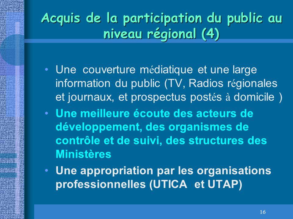 Acquis de la participation du public au niveau régional (4)