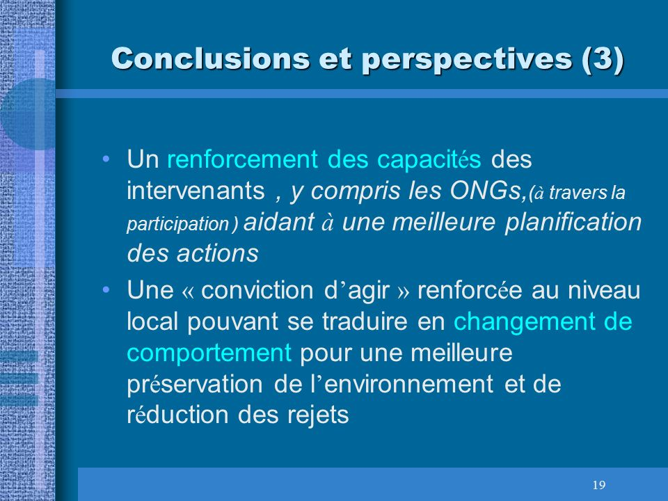 Conclusions et perspectives (3)