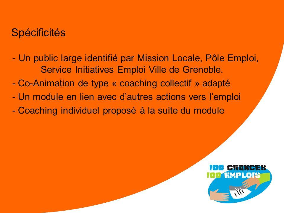 Spécificités - Un public large identifié par Mission Locale, Pôle Emploi, Service Initiatives Emploi Ville de Grenoble.