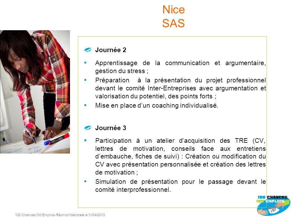 Nice SAS Journée 2. Apprentissage de la communication et argumentaire, gestion du stress ;