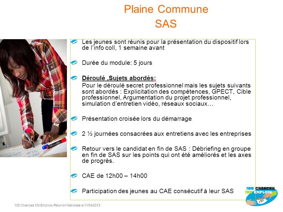 Plaine Commune SAS Les jeunes sont réunis pour la présentation du dispositif lors de l'info coll, 1 semaine avant.