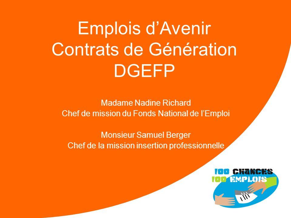Emplois d'Avenir Contrats de Génération DGEFP