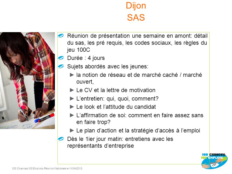 Dijon SAS Réunion de présentation une semaine en amont: détail du sas, les pré requis, les codes sociaux, les règles du jeu 100C.