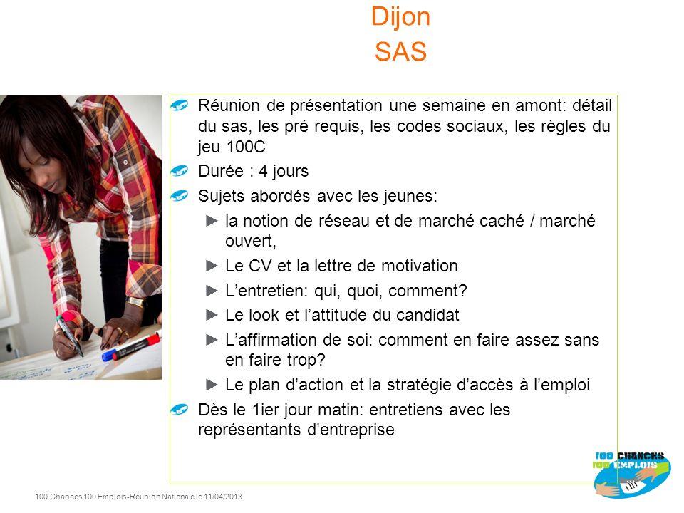 Dijon SASRéunion de présentation une semaine en amont: détail du sas, les pré requis, les codes sociaux, les règles du jeu 100C.