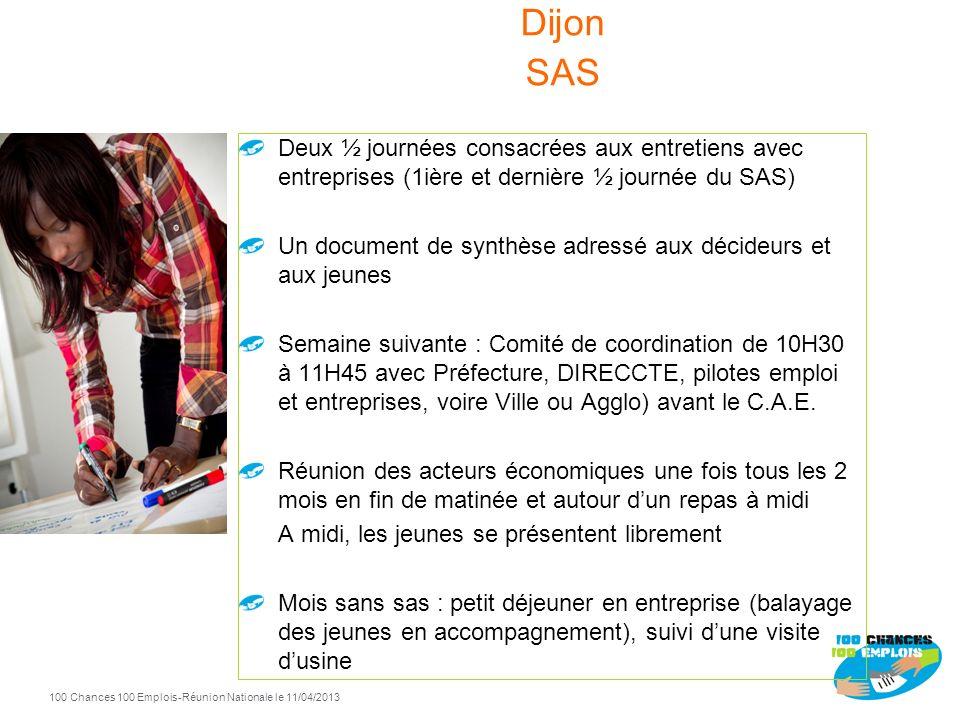 Dijon SAS Deux ½ journées consacrées aux entretiens avec entreprises (1ière et dernière ½ journée du SAS)