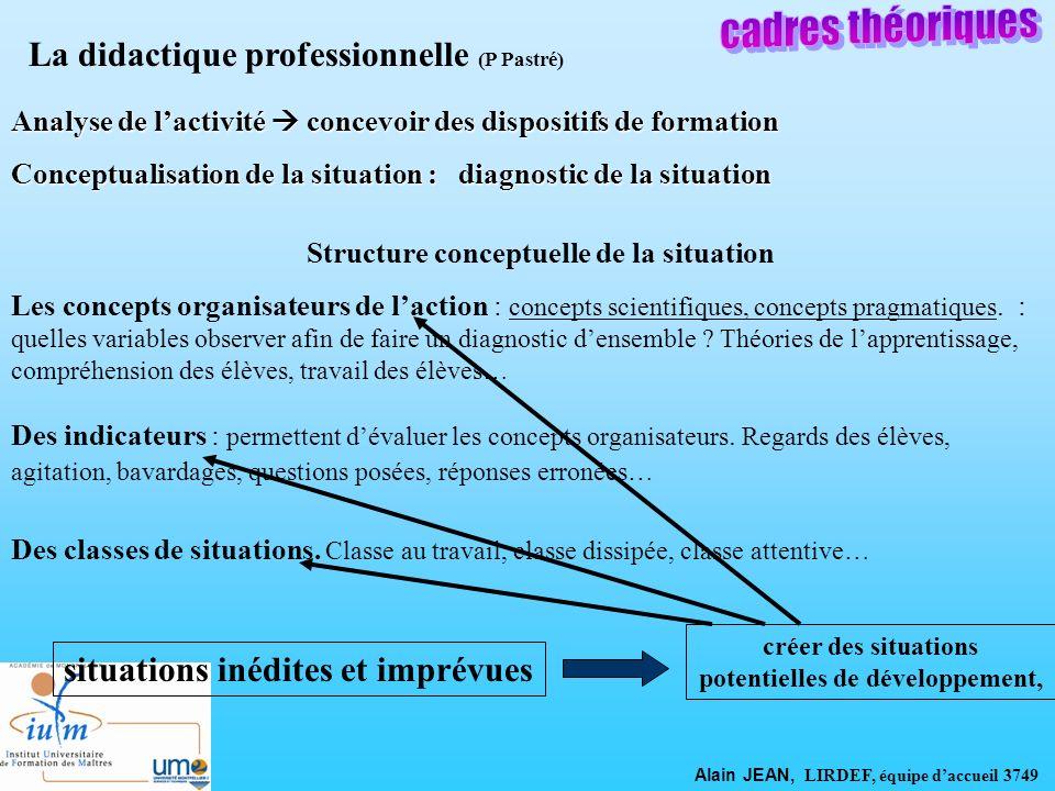 cadres théoriques La didactique professionnelle (P Pastré)