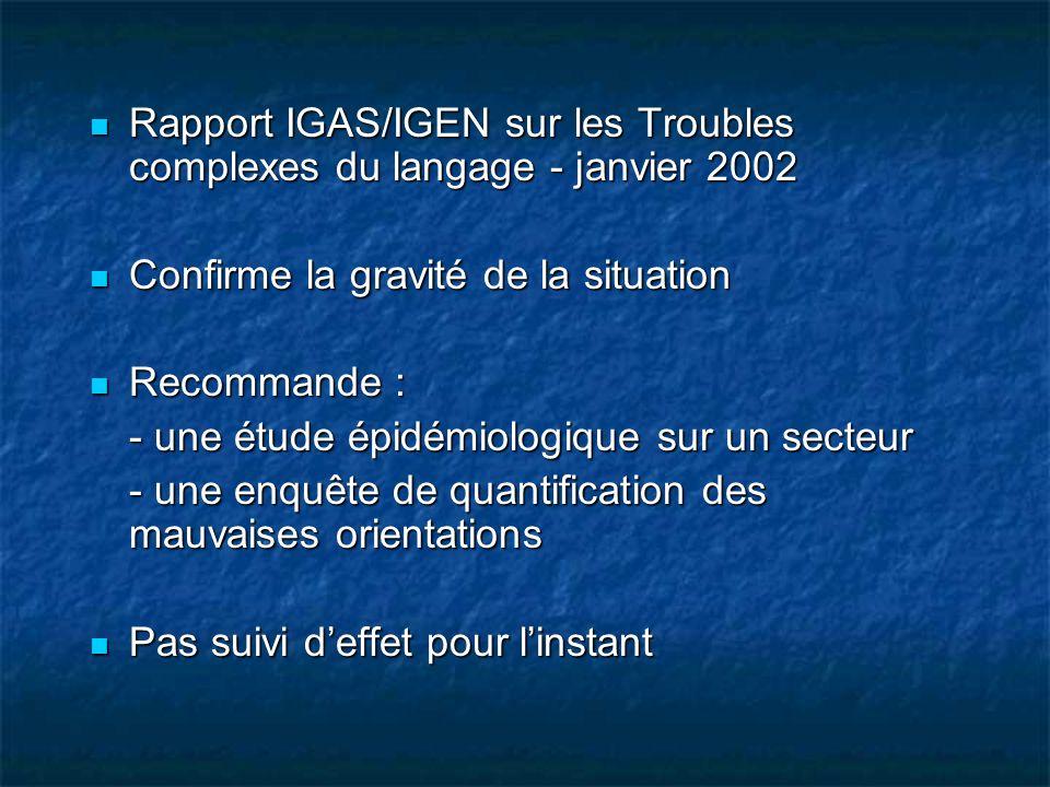Rapport IGAS/IGEN sur les Troubles complexes du langage - janvier 2002
