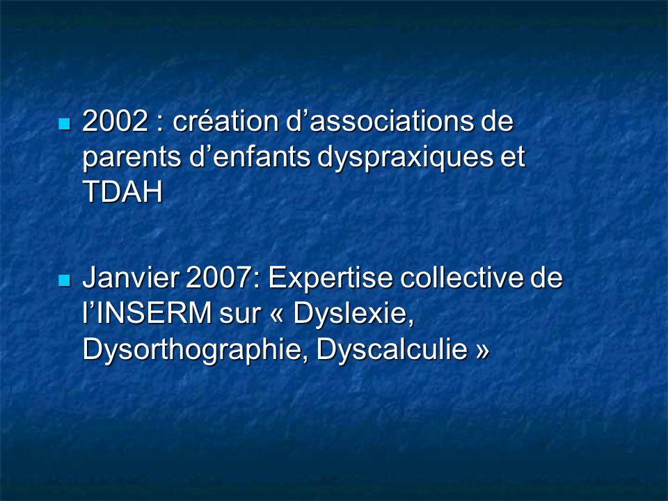 2002 : création d'associations de parents d'enfants dyspraxiques et TDAH
