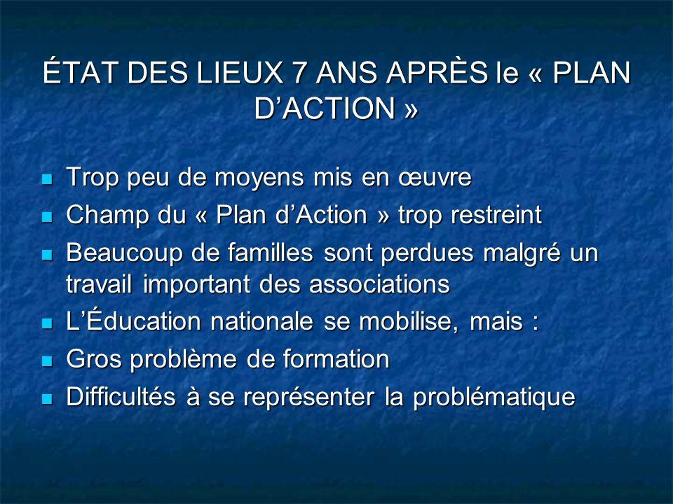 ÉTAT DES LIEUX 7 ANS APRÈS le « PLAN D'ACTION »