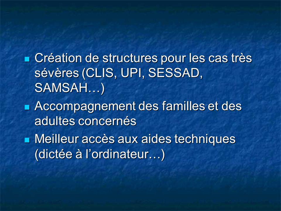 Création de structures pour les cas très sévères (CLIS, UPI, SESSAD, SAMSAH…)