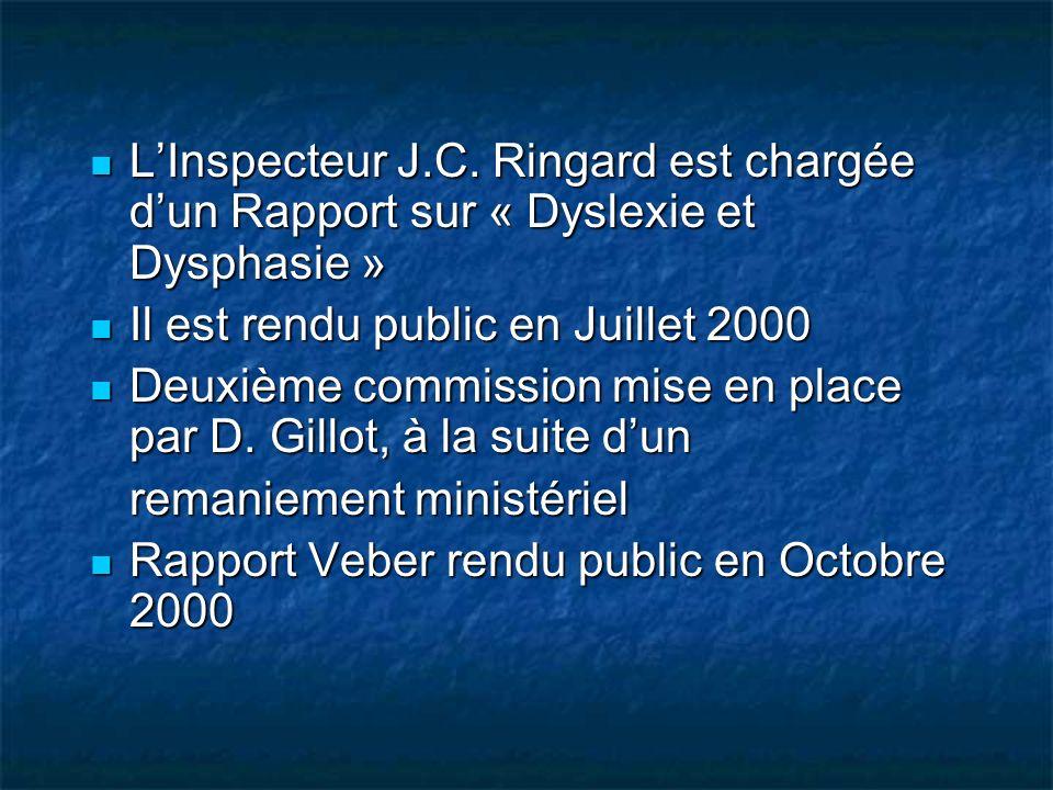 L'Inspecteur J.C. Ringard est chargée d'un Rapport sur « Dyslexie et Dysphasie »