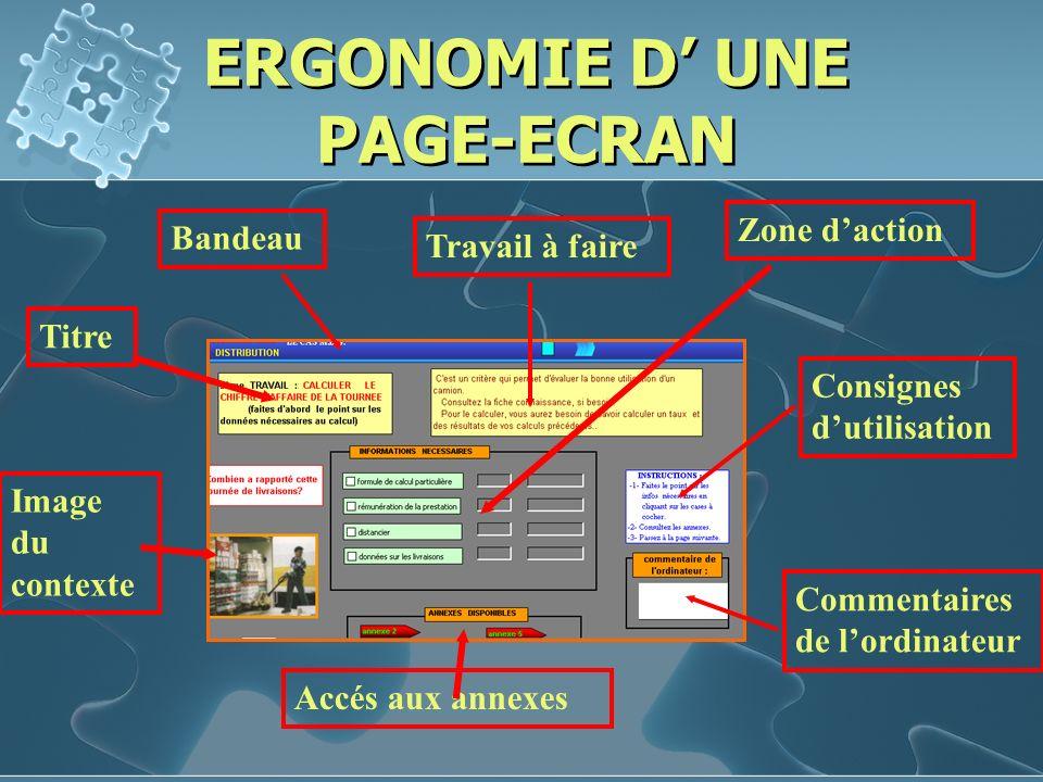 ERGONOMIE D' UNE PAGE-ECRAN