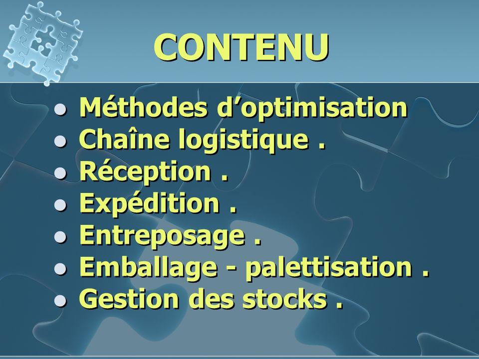 CONTENU Méthodes d'optimisation Chaîne logistique . Réception .