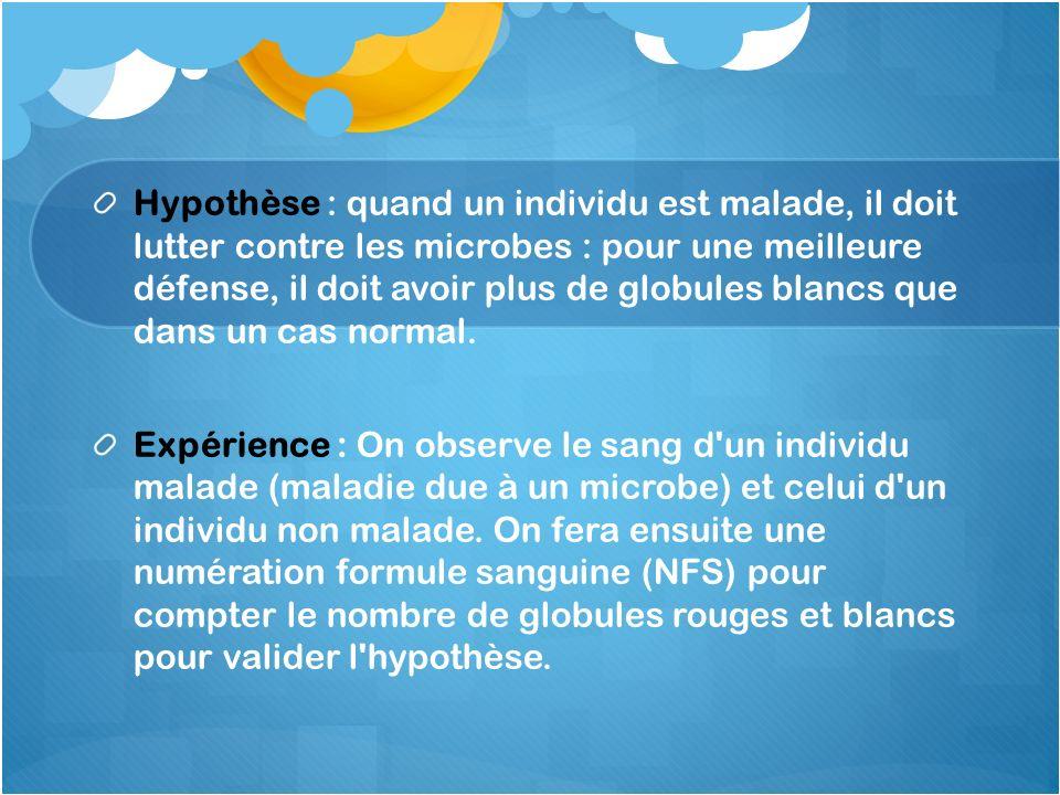 Hypothèse : quand un individu est malade, il doit lutter contre les microbes : pour une meilleure défense, il doit avoir plus de globules blancs que dans un cas normal.