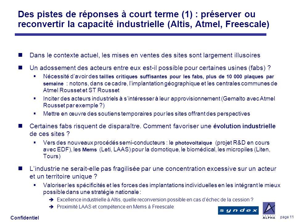 Des pistes de réponses à court terme (1) : préserver ou reconvertir la capacité industrielle (Altis, Atmel, Freescale)