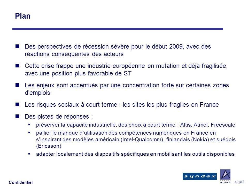 Plan Des perspectives de récession sévère pour le début 2009, avec des réactions conséquentes des acteurs.