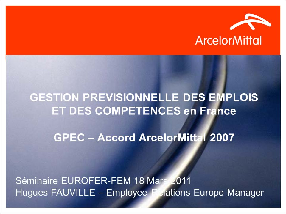 GESTION PREVISIONNELLE DES EMPLOIS ET DES COMPETENCES en France GPEC – Accord ArcelorMittal 2007