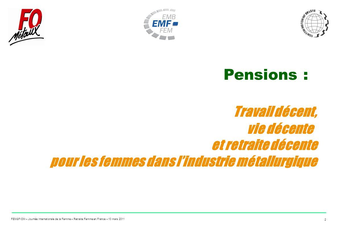 Pensions : Travail décent, vie décente et retraite décente