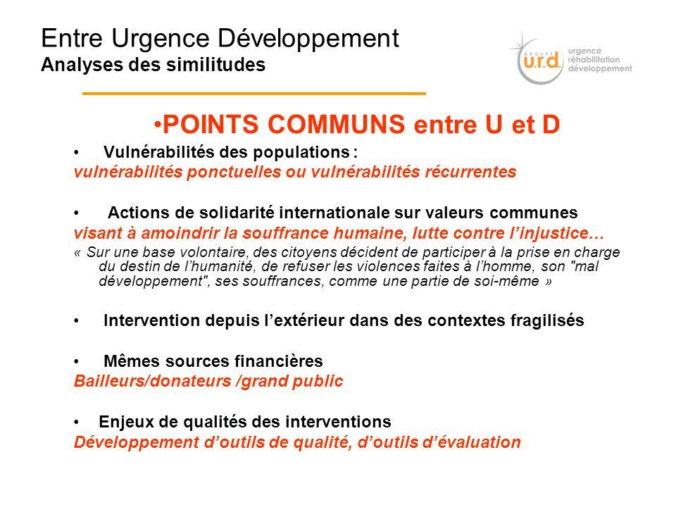 Entre Urgence Développement Analyses des similitudes