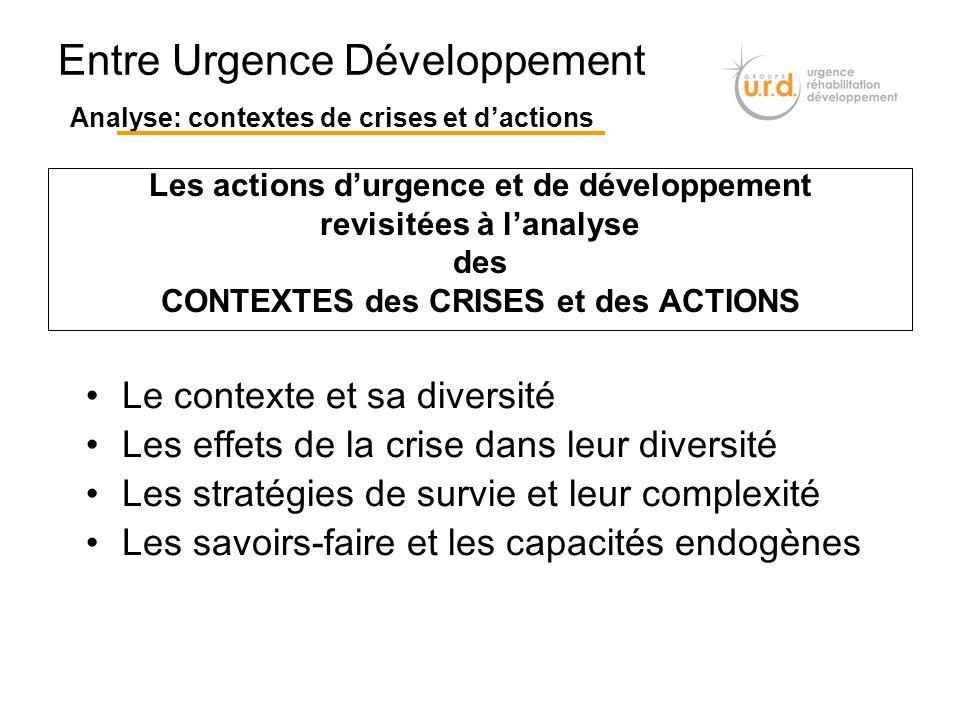 Entre Urgence Développement Analyse: contextes de crises et d'actions