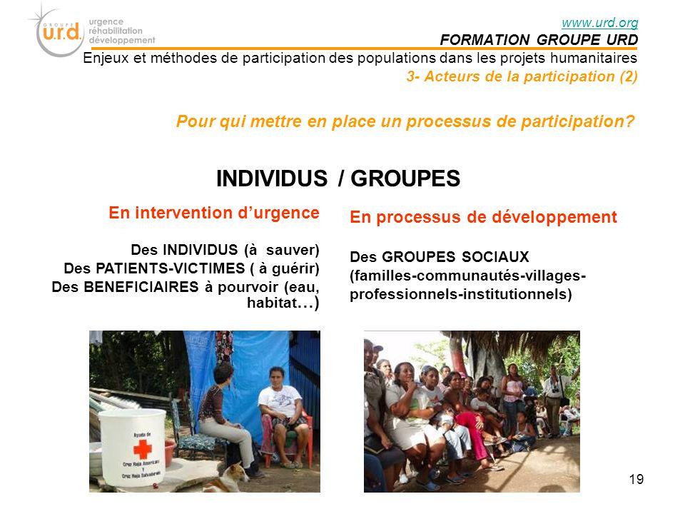 www.urd.org FORMATION GROUPE URD. Enjeux et méthodes de participation des populations dans les projets humanitaires.